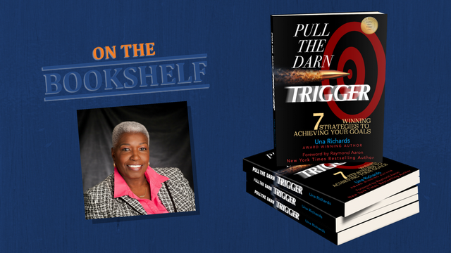 """Pull the Darn Trigger"" by Una Richards placed ""On the Bookshelf"""